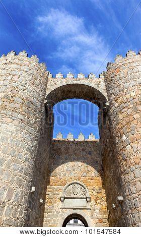 Avila Castle Town Walls Arch Gate Castile Spain