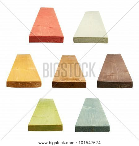 Painted pine wood board isolated