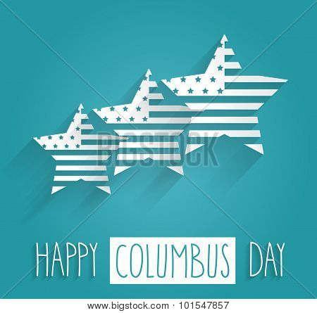 Columbus Day blue poster. Handwritten text