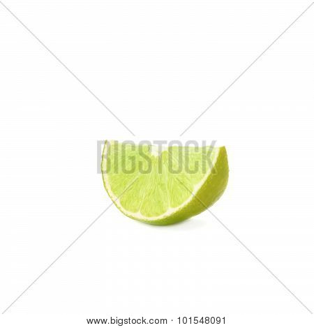 Slice section of lime isolated over the white background
