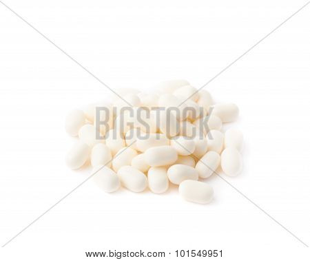 White mint dregee candies isolated