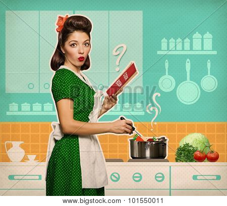 Retro Young Woman Cooking And Reading Recipe Book In Her Kitchen Room