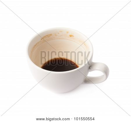 Used empty cup of coffee isolated