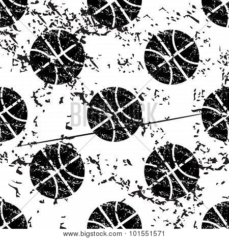 Basketball pattern, grunge, monochrome