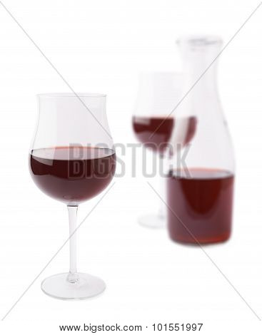 Wine glass and bottle composition isolated