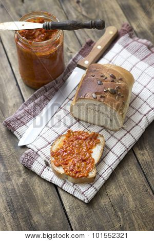 Slice Of Bread Smeared With Chutney