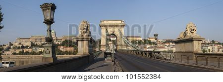 Chain Bridge Panorama In Budapest