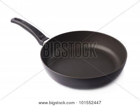 Black metal frying pan isolated