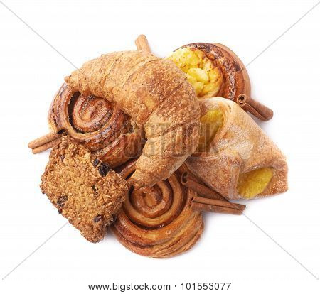 Pile of pastry isolated