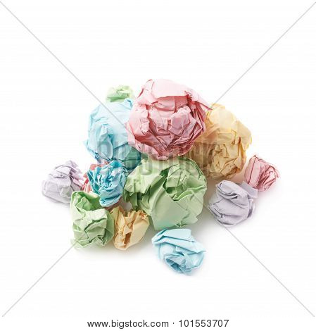 Pile of crumpled paper balls isolated