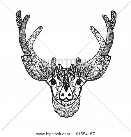 Zentangle stylized baby deer. Sketch for tattoo or t-shirt.