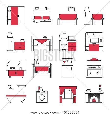 Furniture Line Icons Set