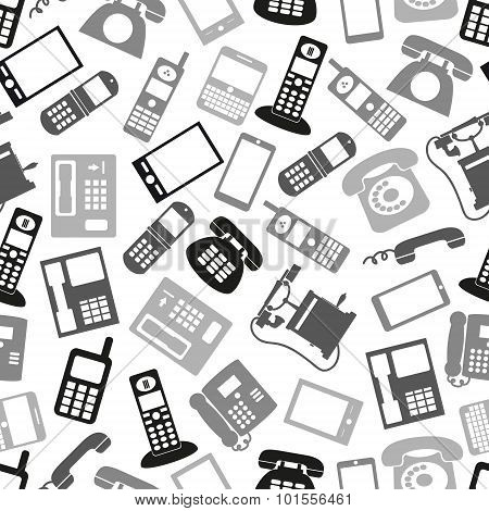 Various Grayscale Phone Symbols And Icons Seamless Pattern Eps10