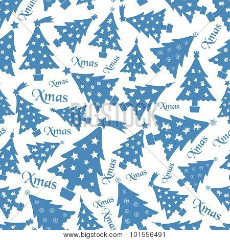 Set Of Christmas Blue Tree Decoration White Seamless Pattern Eps10