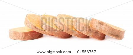 Multiple slice sections of the sweet potato