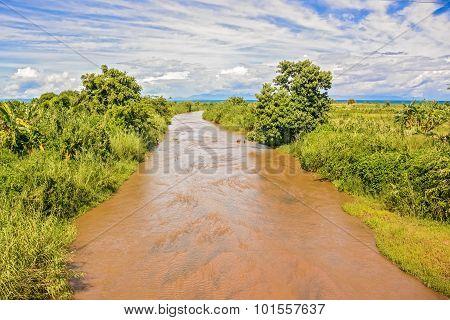 River In Karonga In Malawi.
