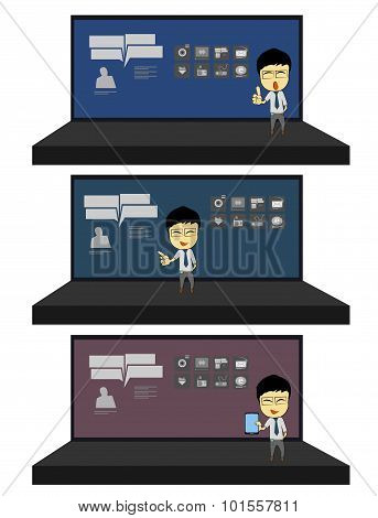 Business Man Presentation In Stage Cartoon