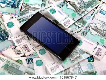 Cellphone And Russian Rubles