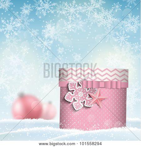 pink giftbox, christmas motive