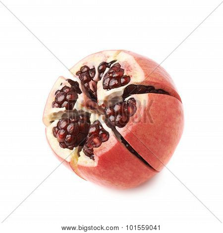 Cut in segments pomegranate isolated