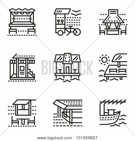 Cafe and bungalows simple line vector icons