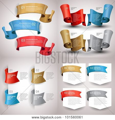 Vector Ribbons Set. Design Infographic Template