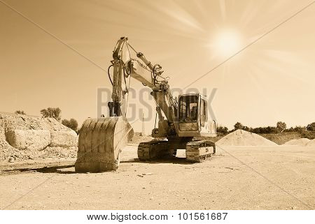 Old Excavator In The Quarry