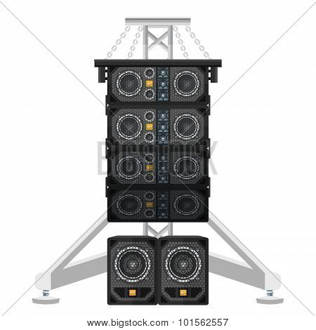 Line Array Concert Acoustics On Truss Suspension Illustration.