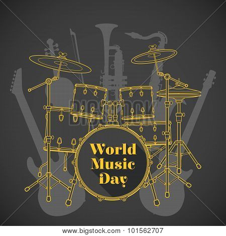 Abstract Dark Colored International Music Day Poster Illustration.