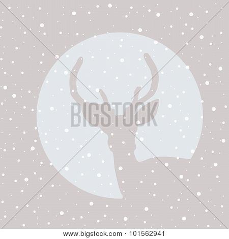 Deer Stag Icon With Snowflakes