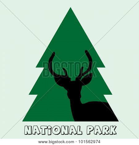 National Park Icon With Deer Stag And Fir