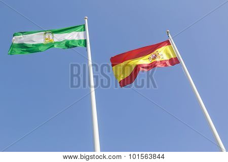 Andalusian And Spanish Flag