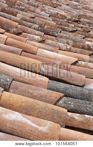 Old Clay Tile Roof Detail In Vertical Format