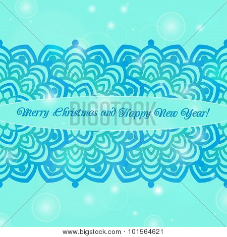 Christmas And New Year Ornate Cards On Winter Background In Modern Style.