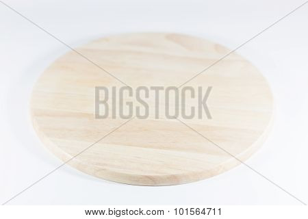 Wooden Plate Isolated On White Background