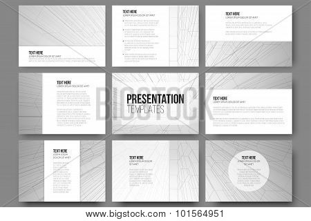 Set of 9 templates for presentation slides. Geometric gray backgrounds, abstract hexagonal vector pa