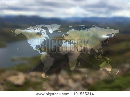 Polygonal world map on blurred landscape background. Vector design