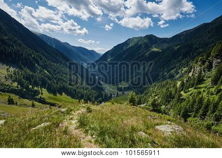Mountain Valley In A Summer Day