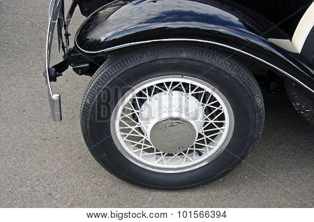 Wheel Of Black Antique Car