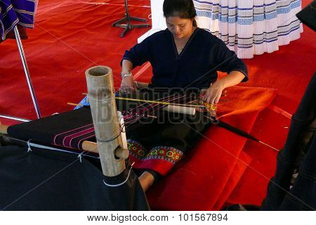 Woman Weaving Thailand Traditional Fabric