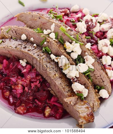Flank Steak with Beet Salad and Gorgonzola Cheese