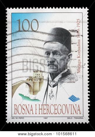 BOSNIA AND HERZEGOVINA - CIRCA 1997: a stamp printed in Bosnia and Herzegovina shows Mustafa Mujaga Komadina - Former Mayor in Mostar, circa 1997.