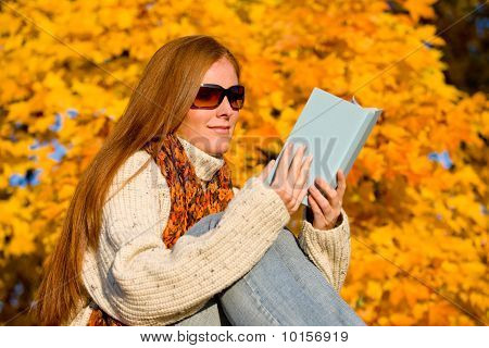 Autumn Sunset Country - Woman Read Book