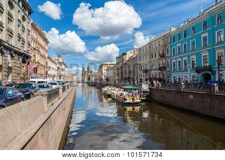 River Cruise Passenger Boats Moored On Griboedov Channel In St. Petersburg, Russia