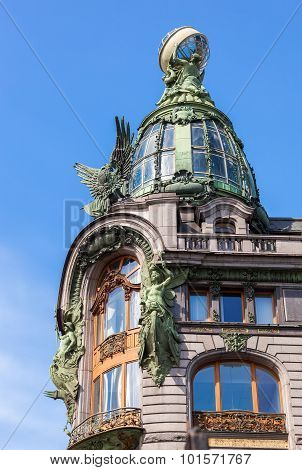 Closeup Of Zinger House On Nevsky Prospect In The Historic Center Of The St. Petersburg, Russia