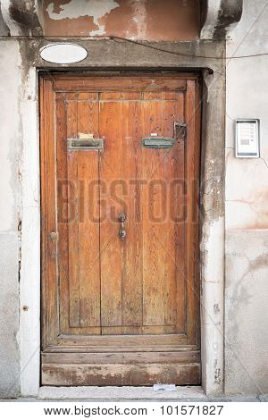 Wooden doors in wall