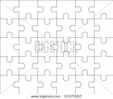 Jigsaw Puzzle Blank Template 5X6, Thirty Pieces