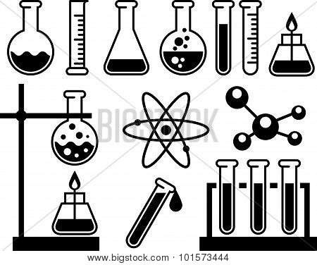 Chemical Laboratory Equipment - Test Tubes, Flasks And Measuring Glass