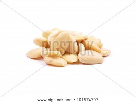 Blanched Almonds On White