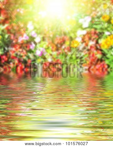 Surface Rippled Of Water And Blur Nature Background